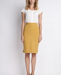 Mustard pencil skirt with subtel pleats - Skirts -