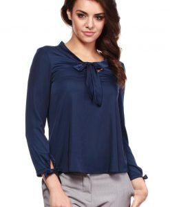 Navy Blue Cut Out Bow tie Blouse with Long Sleeves - Blouses -