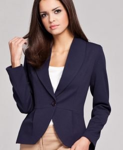 Navy Blue Long Lapel Single Button Closure Blazer for Women - Outerwear > Blazers -