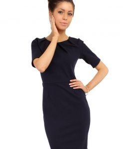 Navy Blue Pleated Neckline Belted Shift Dress - Dresses -