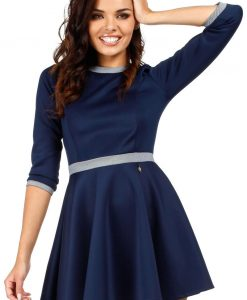 Navy Blue Retro Style A-line Mini Dress - Dresses -