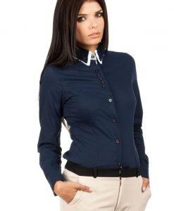 Navy Button Down Collar Executive Shirt - Shirts > Shirts Long Sleeve -
