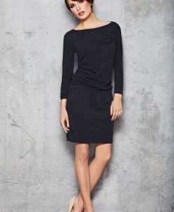 Navy blue Stretch Shift Dress with Long Sleeves - Dresses -