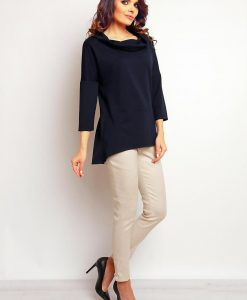 Navy blue blouse with wide turtle neckline - Blouses -