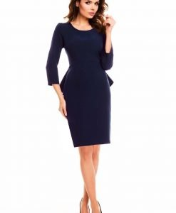 Navy blue peplum dress with back slit - Dresses -
