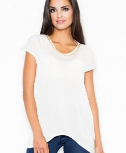 Off White Asymmetrical Hemline Blouse with Chain Embellished Neckline - Blouses -