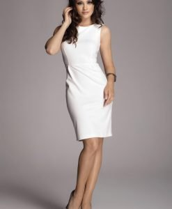 Off White Bateau Neck Seam Shift Slit Dress - Dresses -