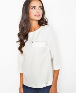 Off White Blouse with ¾ Sleeves and Back Zipper Fastening - Blouses > Blouses Short Sleeve -