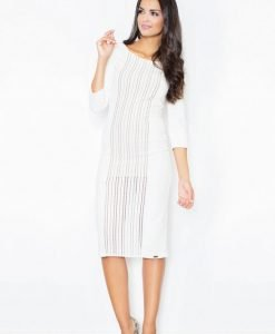 Off White Front Panel Embroidered Midi Dress - Blouses > Blouses Long Sleeve -
