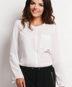 Off White Shirt with Keyhole Back Neckline - Shirts > Shirts Long Sleeve -