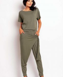 Olive baggy jumpsuit with crossover back - Trousers -