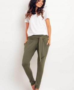 Olive green stretchable pants with self tie belt - Trousers -