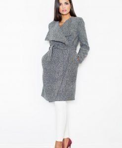 Oversized Double Breasted Grey Coat with Self Tie Belt - Outerwear > Jackets and coats -