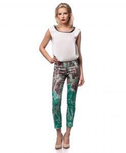 Pantalon casual imprimeu turcoise 5398-1 - PANTALONI - Pantaloni de zi