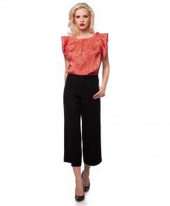Pantalon larg 3/4 negru 5397 - PANTALONI - Pantaloni de zi