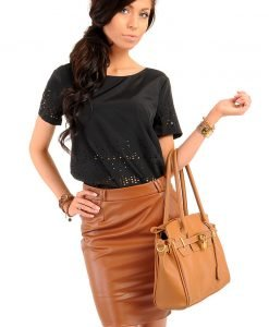 Pencil Leather Caramel Skirt with Loops for Belt - Skirts -