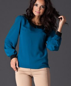 Peter Pan Collar Sky Blue Shirt with Shirred Cuffs - Blouses > Blouses Long Sleeve -