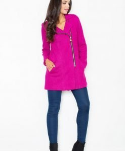 Pink Asymmetrical Zipper Closure Long Coat - Outerwear > Jackets and coats -
