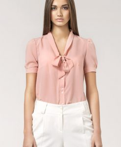 Pink Bow Neckline Pleated Back Chiffon Blouse - Blouses > Blouses Short Sleeve -