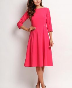 Pink Midi Pleated Dress - Dresses -