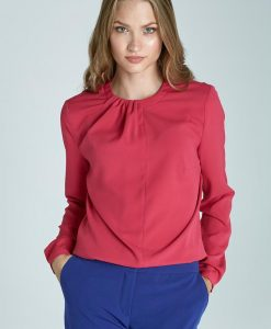 Pink Pleated Neckline Blouse - Blouses > Blouses Long Sleeve -