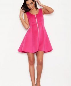 Pink Seam Skater Dress with Contrast Zipper - Dresses -