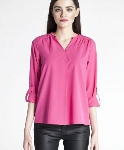 Pink pleated front blouse with button tab sleeves - Blouses -