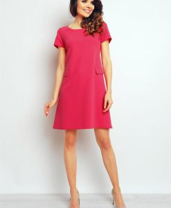 Pink shift dress with flap side pockets - Dresses -