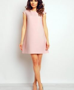 Pink shift panel dress with cap sleeves - Dresses -