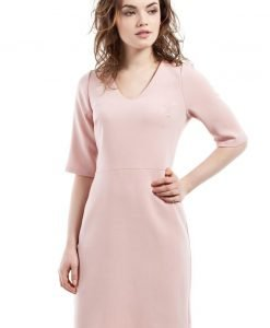 Powder Pink Pencil Dress With V Neck Mini Length - Dresses -
