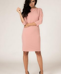 Powder Pink Seam Shift Dress with Back Zip Fastening - Dresses -