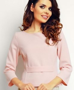 Powder Pink elegant textured blouse - Blouses -