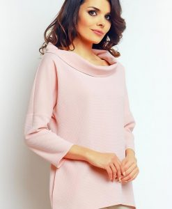 Powder pink blouse with wide turtle neckline - Blouses > Blouses Short Sleeve -