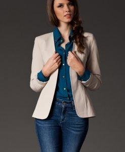 Puffed Shoulder Collarless Seam Beige Blazer - Outerwear > Blazers -