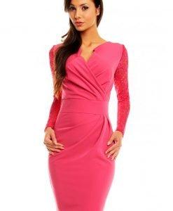 Różowa Koronkowa Sukienka z Założeniem Kopertowym - Dresses -