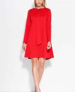 Red A Line dress with bow neckline - Dresses -