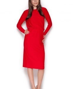 Red Back Slit Knee Length Shift Dress - Dresses -