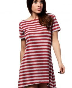Red Bateau Neck Striped Dippy Hemline Shift Dress - Dresses -