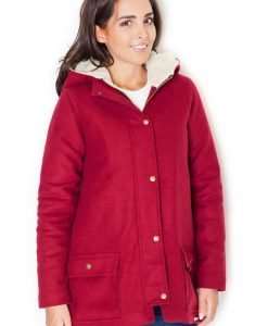 Red Coat with Fur-Lined Hood - Outerwear > Jackets and coats -
