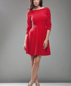 Red High Elegance Workwear Skater Dress - Dresses -