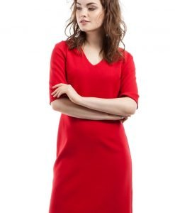 Red Pencil Dress With V Neck Mini Length - Dresses -