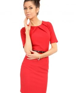 Red Pleated Neckline Belted Shift Dress - Dresses -
