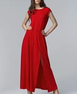 Red Side Slit Maxi Dress with Overlap Back - Dresses -
