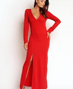 Red Slit Maxi Dress with V-Neckline - Dresses -