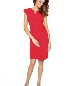 Red bow waist dress with cap sleeves - Dresses -