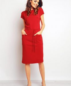 Red casual midi dress with self tie belt - Dresses -