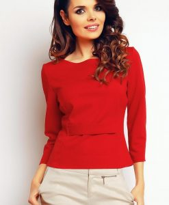 Red elegant textured blouse - Blouses -