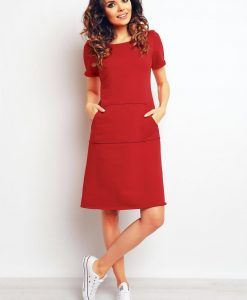 Red sporty dress with kangaroo pockets - Dresses -