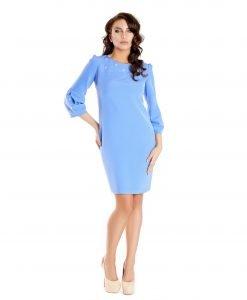 Rochie bleu cu perle aplicate 9338-2 - ROCHII DE ZI - Pentru fiecare zi