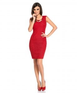 Rochie de ocazie dantela rosie 9309-3 - ROCHII DE SEARA SI OCAZIE - COCKTAIL